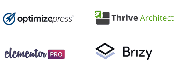 Logotipos Optimizepress Thrive Architect Elementor Pro Brizy