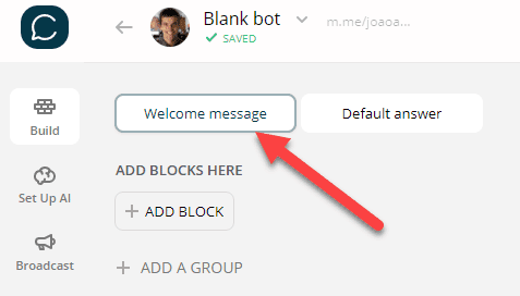 Nome do bloco no Chatfuel (Welcome message)